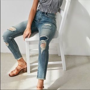 BDG Crop Twig High Rise Distressed Patch Jeans